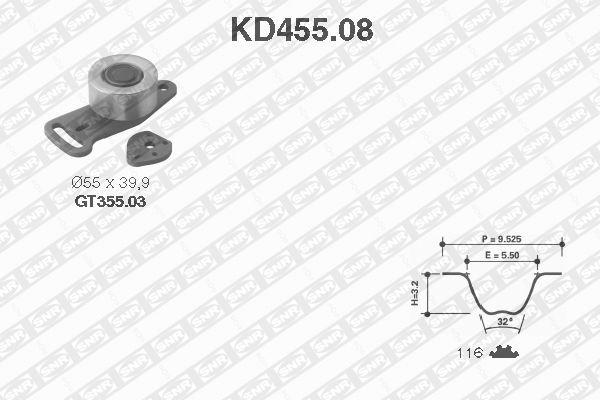 Ilustracja KD455.08 SNR zestaw paska rozrządu