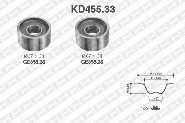 Ilustracja KD455.33 SNR zestaw paska rozrządu