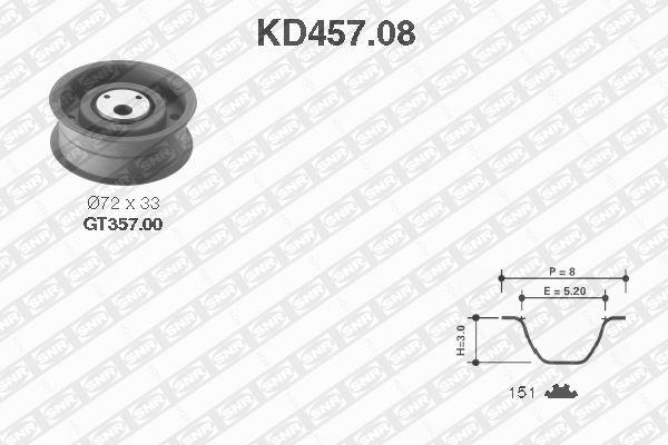 Ilustracja KD457.08 SNR zestaw paska rozrządu