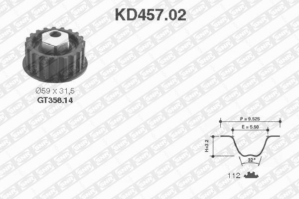 Ilustracja KD457.02 SNR zestaw paska rozrządu