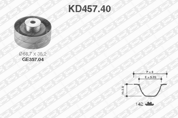 Ilustracja KD457.40 SNR zestaw paska rozrządu