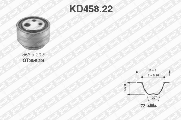 Ilustracja KD458.22 SNR zestaw paska rozrządu