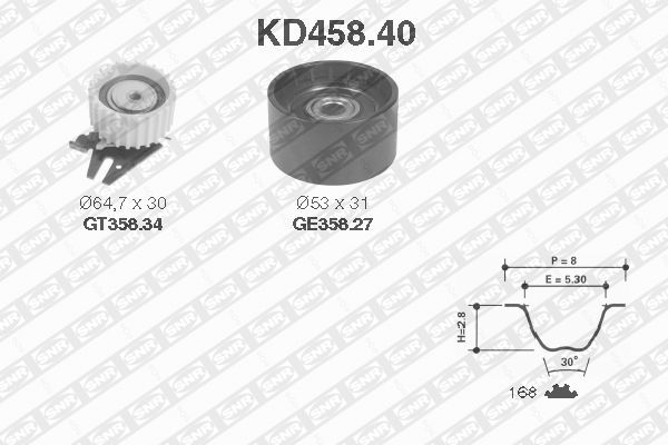Ilustracja KD458.40 SNR zestaw paska rozrządu
