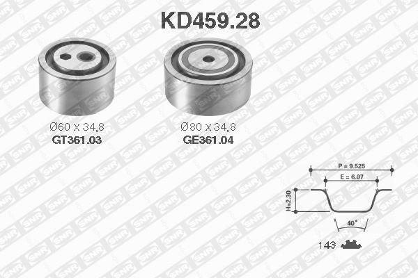 Ilustracja KD459.28 SNR zestaw paska rozrządu