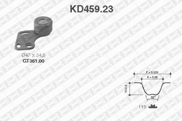 Ilustracja KD459.23 SNR zestaw paska rozrządu