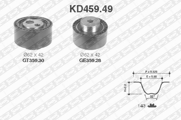 Ilustracja KD459.49 SNR zestaw paska rozrządu