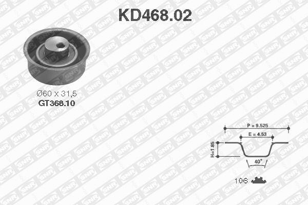 Ilustracja KD468.02 SNR zestaw paska rozrządu
