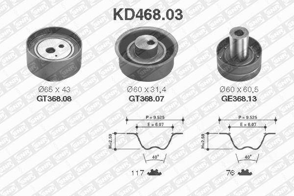 Ilustracja KD468.03 SNR zestaw paska rozrządu
