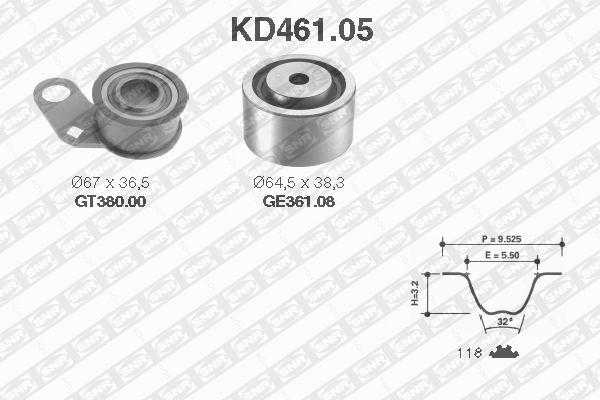 Ilustracja KD461.05 SNR zestaw paska rozrządu