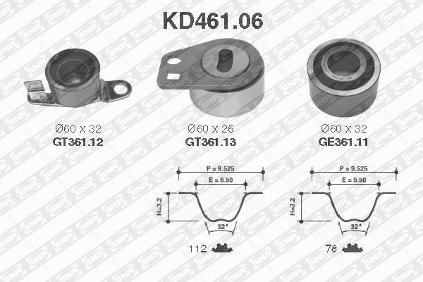 Ilustracja KD461.06 SNR zestaw paska rozrządu
