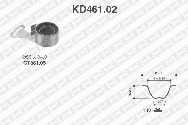 Ilustracja KD461.02 SNR zestaw paska rozrządu