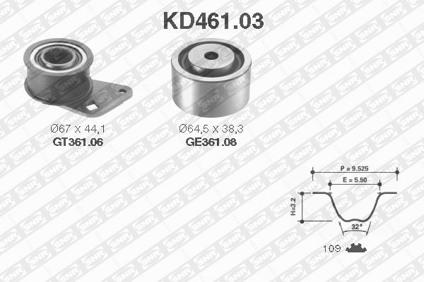 Ilustracja KD461.03 SNR zestaw paska rozrządu