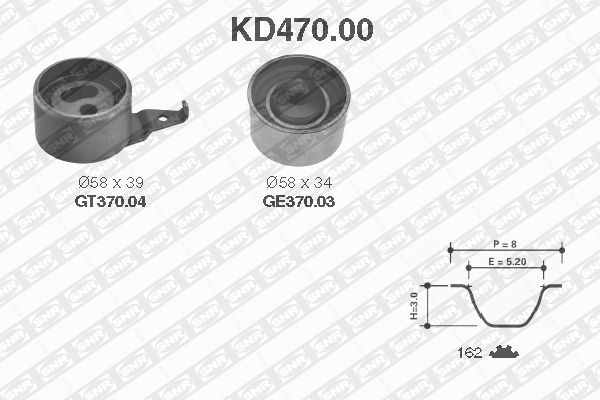 Ilustracja KD470.00 SNR zestaw paska rozrządu
