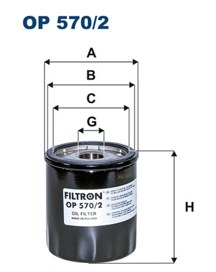 Ilustracja OP 570/2 FILTRON filtr oleju