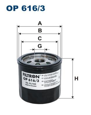 Ilustracja OP 616/3 FILTRON filtr oleju